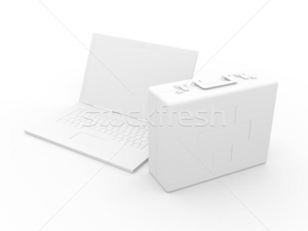 ноутбука первая помощь 3d иллюстрации изолированный белый клавиатура Сток-фото © Spectral