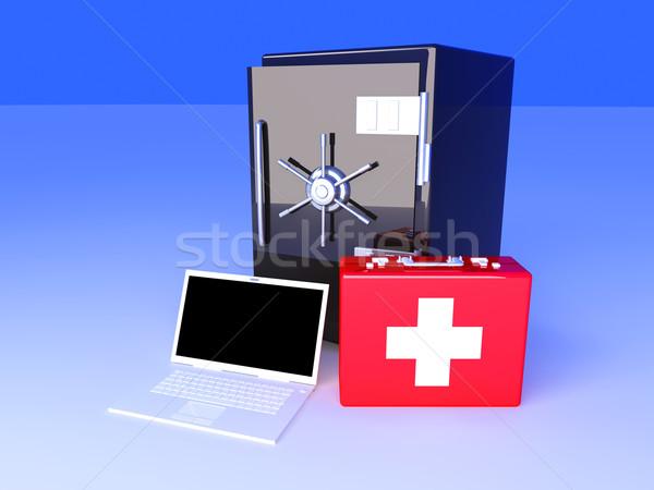 Laptop biztonság lakosztály 3D renderelt illusztráció Stock fotó © Spectral