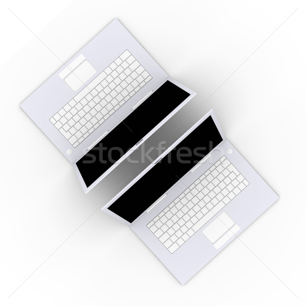 Twee laptops 3d illustration geïsoleerd witte laptop Stockfoto © Spectral