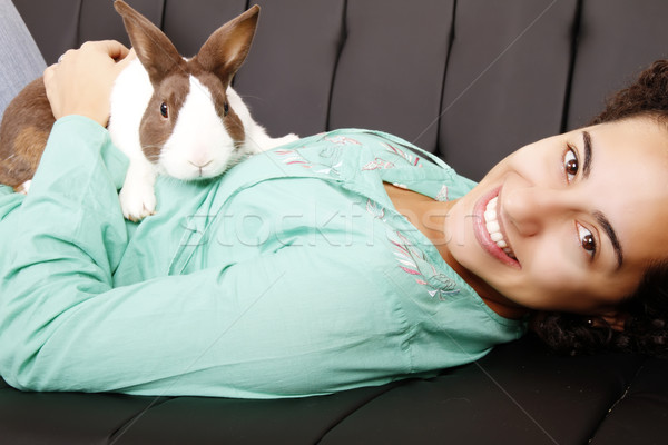Brazilian girl with a Rabbit Stock photo © Spectral