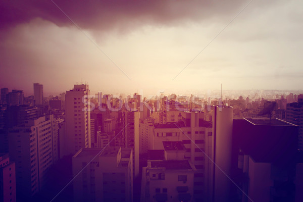 Polluted Sao Paulo	- Retro image Stock photo © Spectral