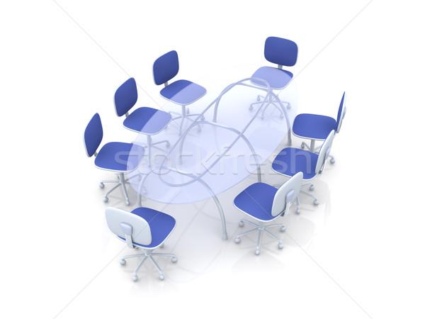 Konferencia asztal 3D renderelt illusztráció üzlet Stock fotó © Spectral