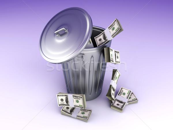 доллара мусор можете 3D оказанный иллюстрация Сток-фото © Spectral