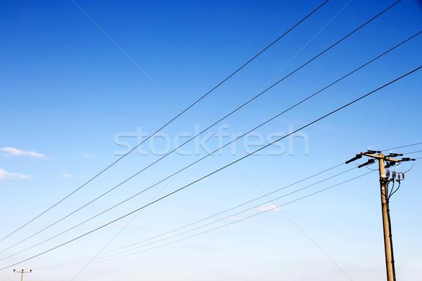 Távvezeték kék ég építkezés hálózat kék kábel Stock fotó © Spectral