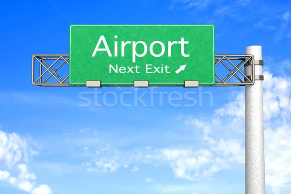 Autópálya tábla repülőtér 3D renderelt illusztráció következő Stock fotó © Spectral
