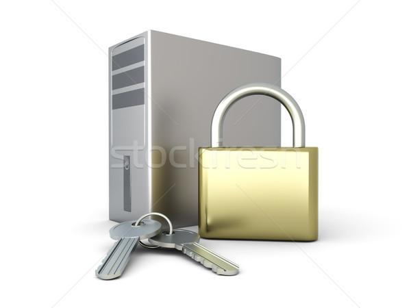 ストックフォト: コンピュータ · セキュリティ · 安全 · デスクトップ · pc · 3D