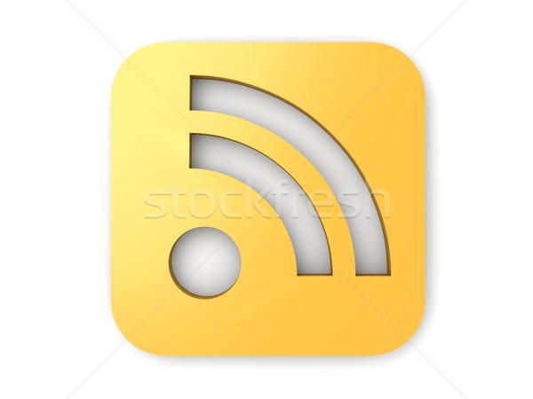 Rss símbolo 3D prestados ilustração isolado Foto stock © Spectral