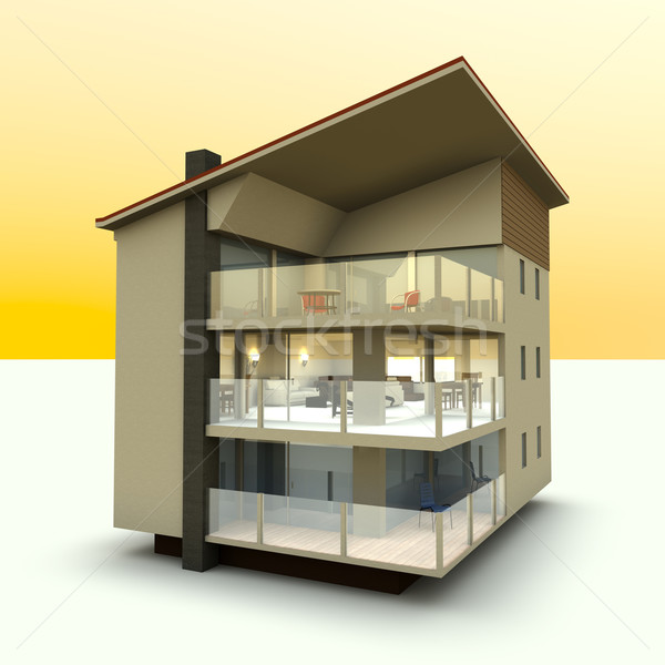 Сток-фото: современное · здание · 3D · оказанный · иллюстрация · дома · дизайна