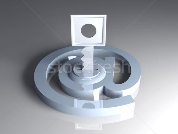 Foto d'archivio: Sicuro · e-mail · 3D · reso · illustrazione · bloccato