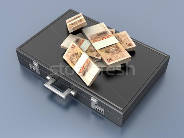 Teczki pieniężnych 3D świadczonych ilustracja czarny Zdjęcia stock © Spectral