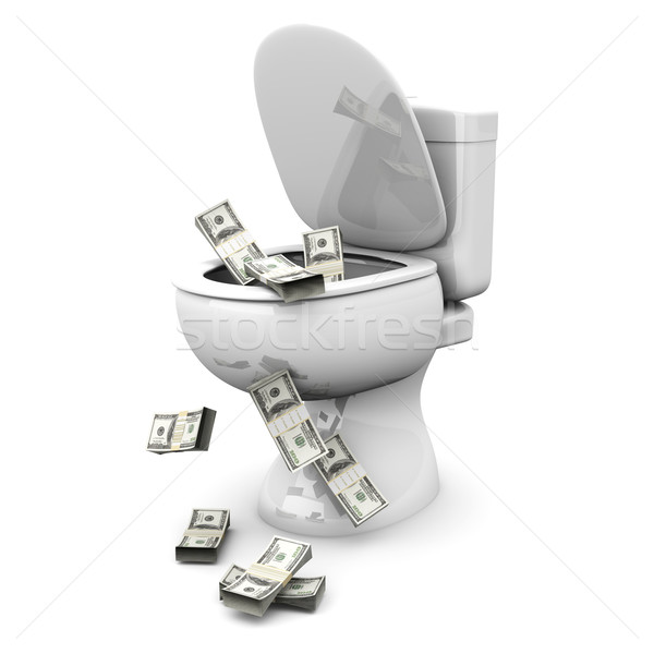 Dollar toilettes argent 3D rendu illustration Photo stock © Spectral