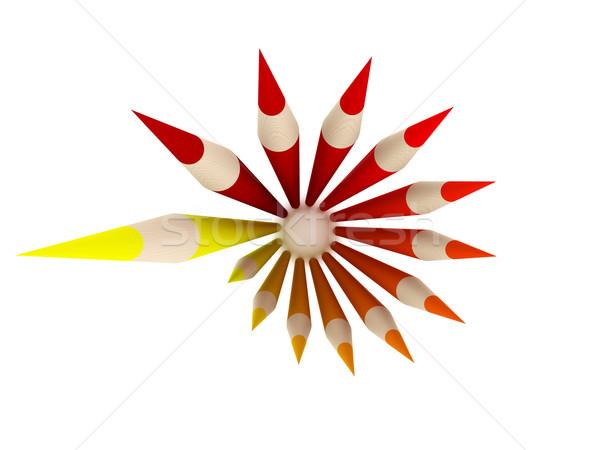 Zsírkréta kör felső piros zsírkréták áll Stock fotó © Spectral