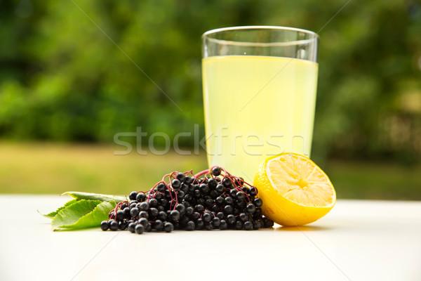 Natürlichen Limonade Holunder Beeren Glas Essen Stock foto © Spectral