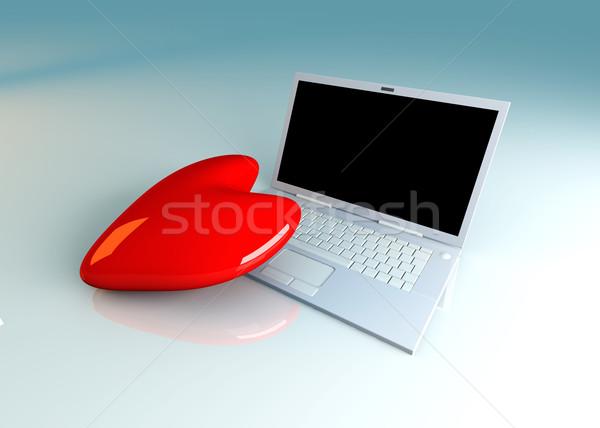 Dizüstü bilgisayar sevmek 3d illustration kalp Internet izlemek Stok fotoğraf © Spectral