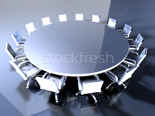 Table 3D rendu illustration réunion métal Photo stock © Spectral