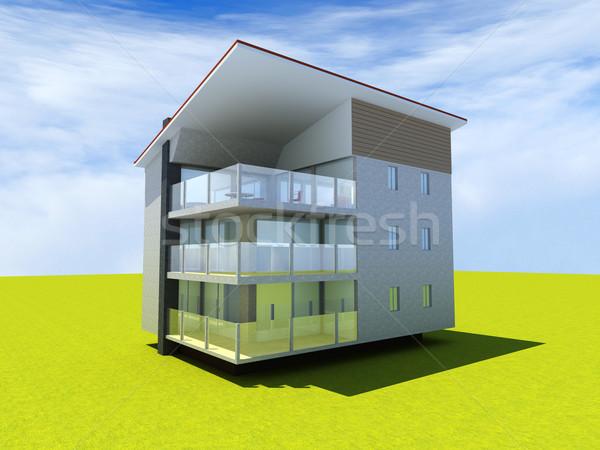 Edifício moderno 3D prestados ilustração casa projeto Foto stock © Spectral