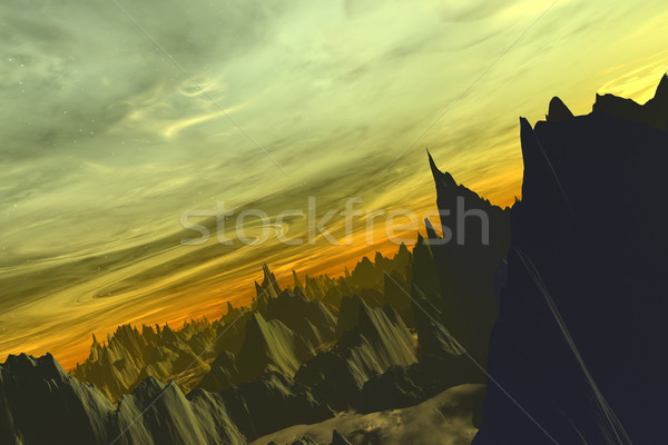 Alienígena mundo digital scifi cenário arte Foto stock © Spectral