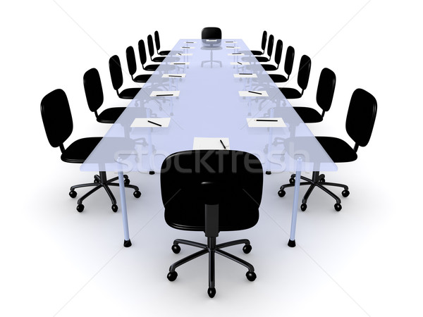Boardroom tabel 3d illustration geïsoleerd witte business Stockfoto © Spectral