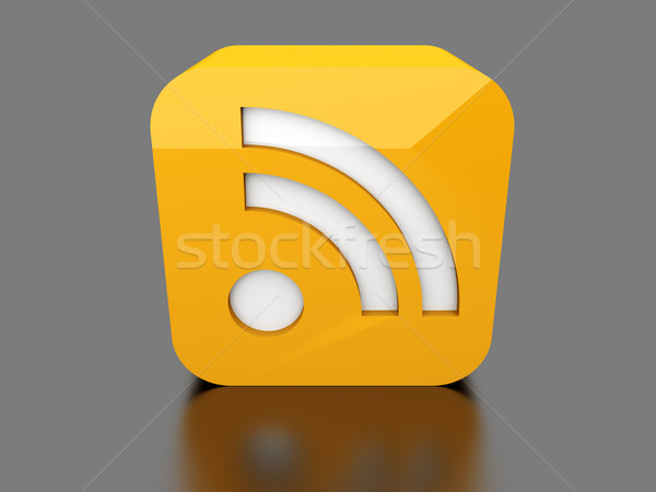 Rss symbool 3D gerenderd illustratie internet Stockfoto © Spectral