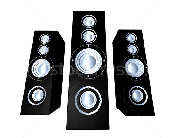 Fekete hangfalak hatalmas hifi 3d illusztráció izolált Stock fotó © Spectral