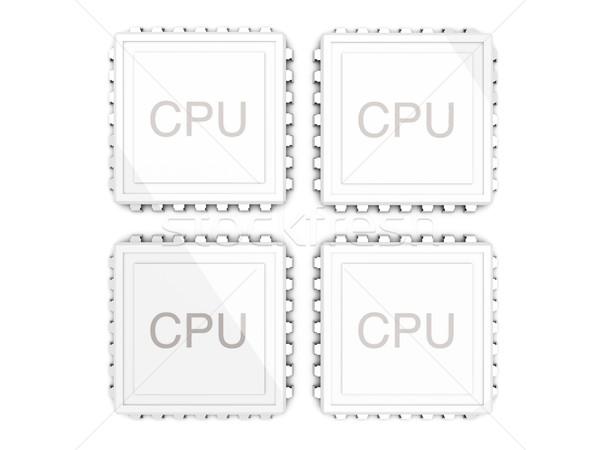 Foto stock: Núcleo · CPU · 3D · prestados · ilustración · dos