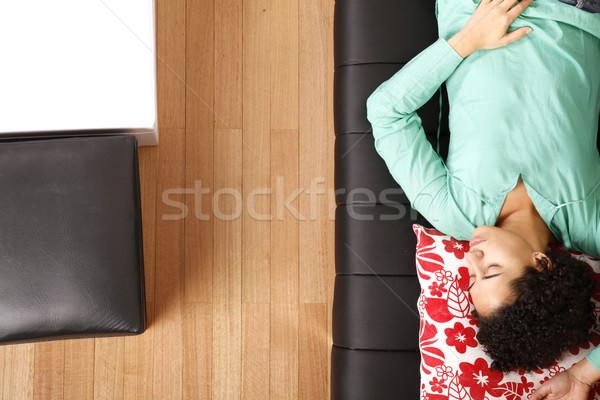 Stock fotó: Nő · alszik · kanapé · lány · szépség · nappali
