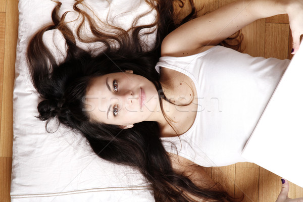 Young woman with a blank Canvas Stock photo © Spectral