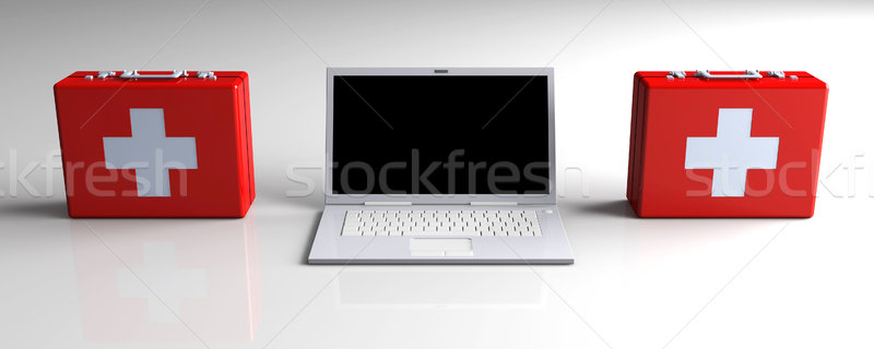 Laptop eerste hulp 3d illustration toetsenbord monitor mobiele Stockfoto © Spectral