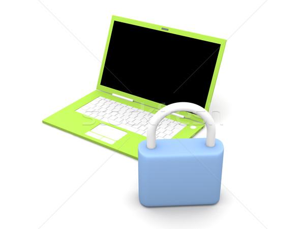 Beveiligde laptop 3d illustration geïsoleerd witte computer Stockfoto © Spectral