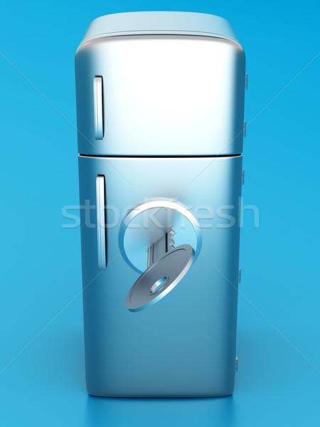 Bloccato frigorifero classico 3D reso illustrazione Foto d'archivio © Spectral