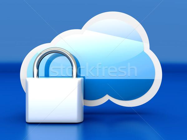 Biztonságos felhő felhő alapú technológia 3D renderelt illusztráció Stock fotó © Spectral
