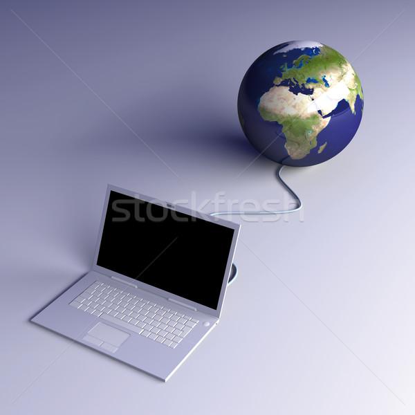 Wereld 3D gerenderd illustratie ethernet internet Stockfoto © Spectral