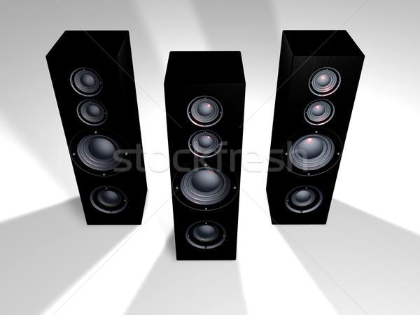 Fekete hangfalak hatalmas hifi 3d illusztráció doboz Stock fotó © Spectral