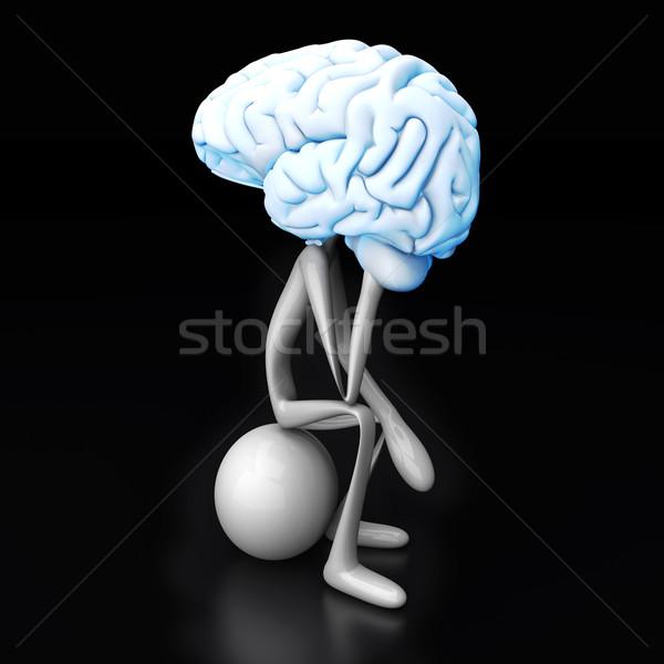 Denker cartoon cijfer reusachtig hersenen 3D Stockfoto © Spectral