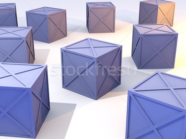 синий железной коробки 3d иллюстрации грубо металл Сток-фото © Spectral