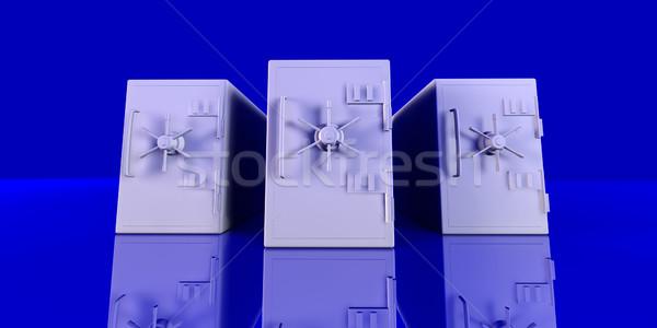 Grandangolo illustrazione 3d tre surreale blu ambiente Foto d'archivio © Spectral
