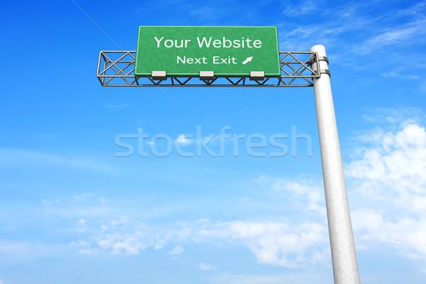 Znak autostrady stronie 3D świadczonych ilustracja następny Zdjęcia stock © Spectral