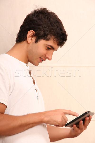 молодые человека играет лице Focus Сток-фото © Spectral
