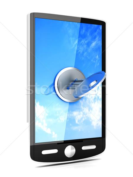 заблокированный смартфон 3D оказанный иллюстрация изолированный Сток-фото © Spectral