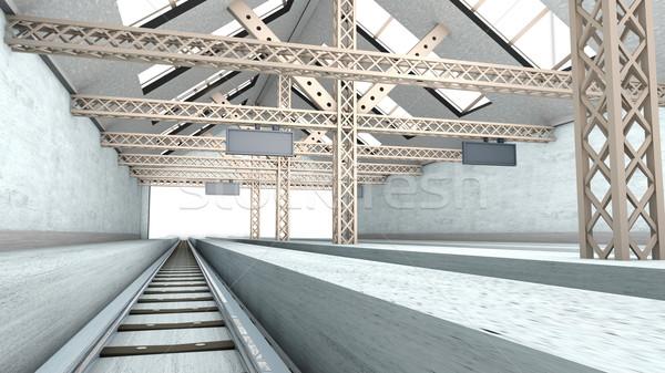 антикварная железнодорожная станция 3D оказанный интерьер архитектура Сток-фото © Spectral