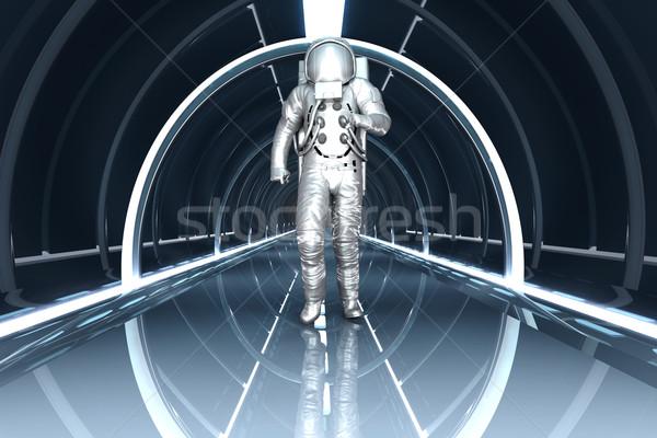 Uzay istasyon astronot yürüyüş 3D render Stok fotoğraf © Spectral