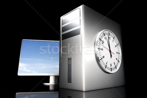 Computer tijd digitale server 3D gerenderd Stockfoto © Spectral