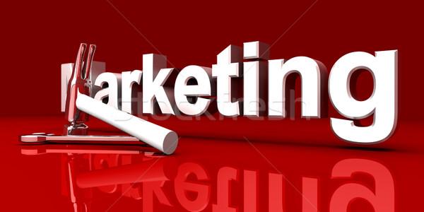 Marketing outils 3D rendu illustration rouge Photo stock © Spectral