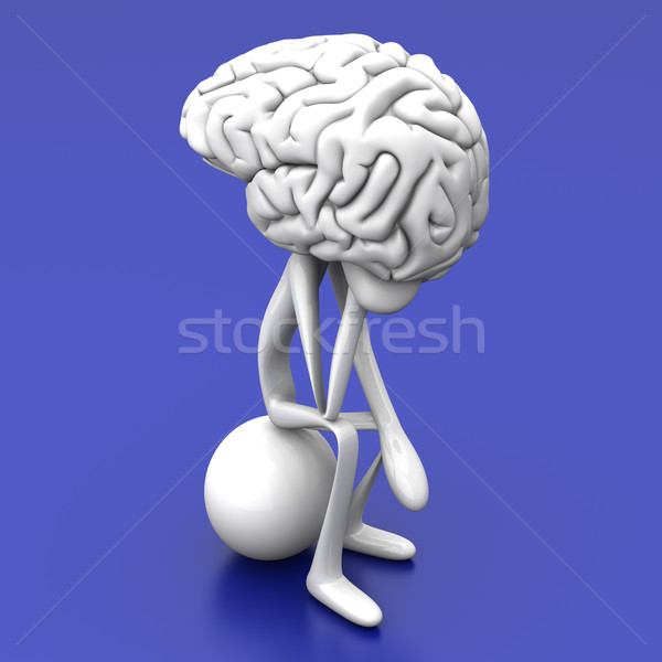 Pensador Cartoon figura enorme cerebro 3D Foto stock © Spectral