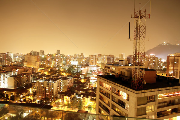 Nightly panorama of Santiago de Chile Stock photo © Spectral