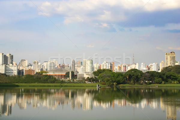 Sao Paulo sziluett Brazília fa város építkezés Stock fotó © Spectral