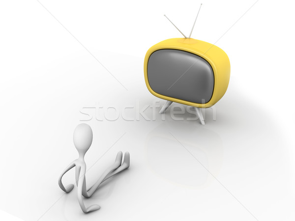 Regarder tv 3D rendu cartoon illustration Photo stock © Spectral