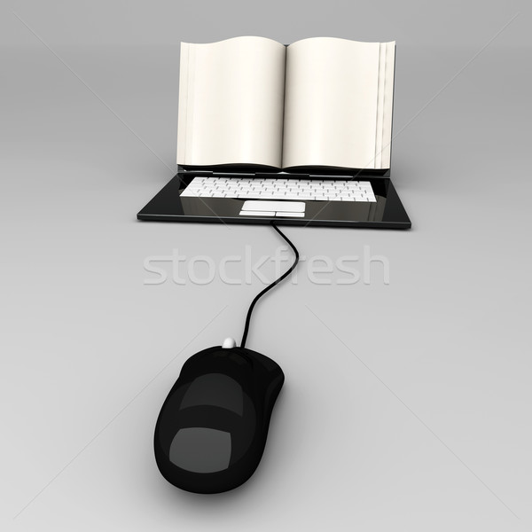 Digitale boek laptop scherm symbolisch 3D Stockfoto © Spectral