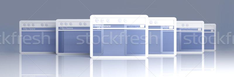 Browser Windows 3d illustration symbolisch internet technologie Stockfoto © Spectral