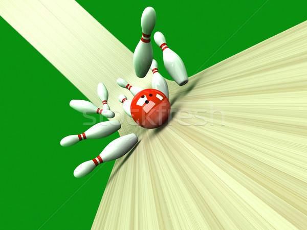 Streik spielen Bowling alle 3D gerendert Stock foto © Spectral